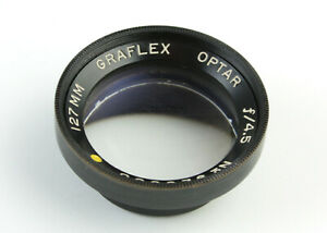 U198857 Vintage Graflex Optar 127mm f/4.5 Yellow Dot Front Lens Cell Only As-Is