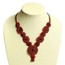 "NE114 Red Garnet Bead Crystal Czech Glass Basket Weave Necklace Magnet Clasp 22"""