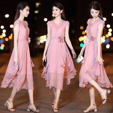latest summer Korean trend fashion elegant temperament v-neck chiffon dress