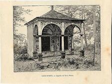 Stampa antica LAGO d'ORTA Cappella sul Sacro Monte di Orta 1892 Old print
