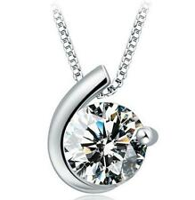 005 Damen Halskette mit Anhänger Zirkonia 925 Silber Pl Zirkon Kristall NEU