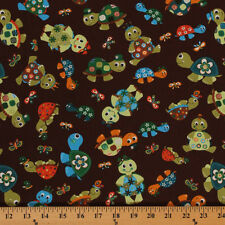 Turtle Talk Brown Turtles Butterfly Cartoon Cotton Fabric Print by Yard D463.18