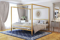 Twin Full Queen king Size Canopy Bed Frame Headboard Metal Steel Gold Modern