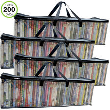 Evelots DVD/BlueRay/Video-Storage Bag-NEW MODEL-Clear-Handle-Hold 200 Total-S/4