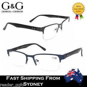 G&G Mens Reading Glasses Half Rim Frame Spring Load  Blue Gun Metal +1.0 ~ 4