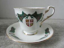 Old Vintage Royal Adderley Newfoundland Tartan & shield Porcelain Cup & Saucer