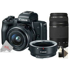 Canon EOS M50 Mirroless Camera w/ 15-45mm + Adapter + 75-300mm Lens Kit