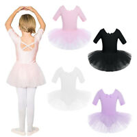 UK Kids Girl Ballet Tutu Dance Dress Gymnastics Half Sleeve Leotards Dancewear