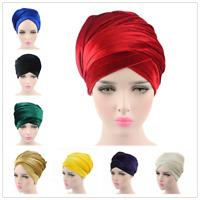 Women Muslim Velvet Long Tail Cap Scarf Head Shawls Warp Turban Scaves Hat Amira