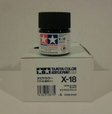 Tamiya acrylic paint X-18 Semi gloss black. 10ml Mini.