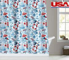 Anchor Sailor Waterproof Fabric Bathroom Shower Curtain 12Hooks 72x72