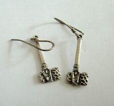 Sterling Silver 925 STONE AGE Club Axe Hammer Dangle Earrings