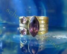 Ring Amethyst lila Stein d Februar Fassung zweifarbig Sterling Silber 925 Gr 19