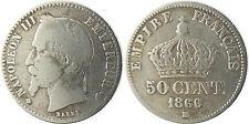 NAPOLÉON  III  ,  50  CENTIMES  ARGENT  TÊTE  LAURÉE  ,  1866  BB  STRASBOURG