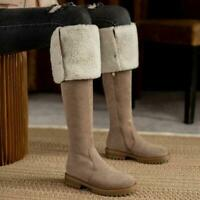 Womens Fashion Faux Suede Fur Trim Over Knee Boots Winter Warm Low Heels Shoes