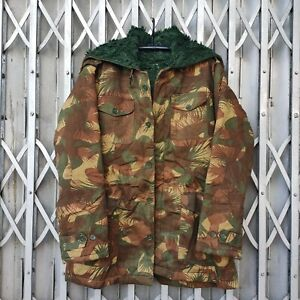 Rare Vintage Indian Army Cold Weather Jacket Palm Frond Camouflage With Hoodie
