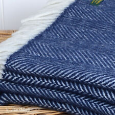 PURE NEW WOOL THROW NAVY BLUE & CREAM Herringbone Blanket Rug Bed Sofa BRITISH