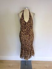 KAREN MILLEN  ANIMAL PRINT SILK HALTERNECK DRESS SIZE 10