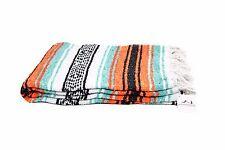 Mint and Orange Mexican Blanket Serape Throw, Mexican Yoga Boho Falsa Blanket XL