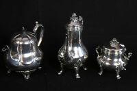 Service café et thé en argent massif, 3 pièces / English tea & coffee set silver