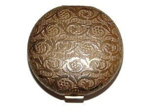 Vintage Estate Ornate Gold Tone Revlon Translucent Powder Mirror Compact Make Up