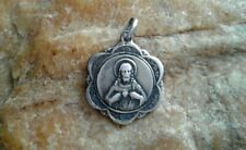 """VINTAGE FRENCH CATHOLIC MARKED SILVER SCAPULAR MEDAL """"OUR LADY of MOUNT CARMEL"""""""