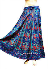 Long Skirt Wrap Ethnic Floral Rapron Printed Cotton Blue Indian Women Loose