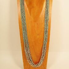"32"" Long Multi Strand Turquoise Color Bohemian Style Handmade Seed Bead Necklace"