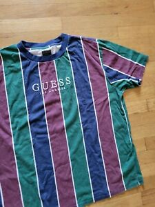 GUESS striped vintage style tee shirt T-Shirt Los Angeles sz L Large preowned $$