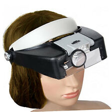 HEAD BAND GLASSES MAGNIFIER THREE LENS LOUPE ILLUMINATED LED JEWELRY WATCHMAKERS