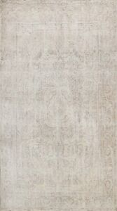 Distressed Muted Tebriz semi Antique Handmade Area Rug Evenly Low Pile Wool 6x9