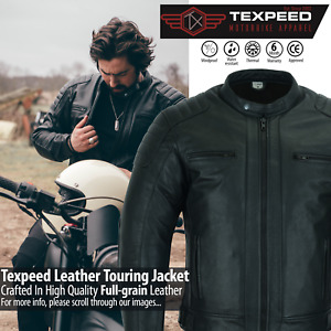 Leather Motorbike Motorcycle Jacket Touring With Genuine CE Armour Biker Thermal