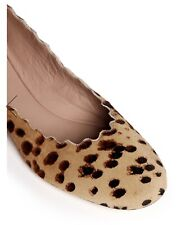 Chloe Scalloped Edge Leopard Print Pony Hair Flats, Size 39.5