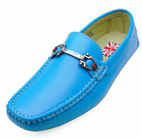 MENS BLUE SLIP-ON MOCCASINS SMART WORK LOAFERS CASUAL DRIVING SUIT SHOES 6-11