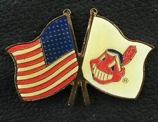 MLB Cleveland Indians Collector Pin~Chief Wahoo Logo~American Flag~Vintage