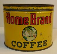 Vintage 1940s HOME BRAND COFFEE KEYWIND COFFEE TIN 1 POUND ABERDEEN SOUTH DAKOTA
