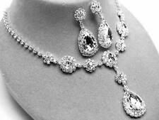 New Silver Tone Clear Crystal Teardop Pendant Necklace Earring Set