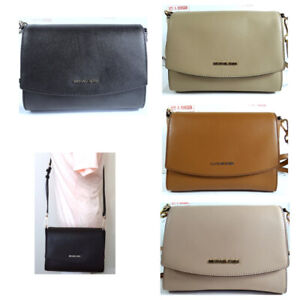 Michael Kors Ellis Medium leather Flap Messenger Crossbody Bag in All colors
