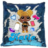 Personalised LOL Queen Be Surprise Reveal Sequin Cushion Cover - Boys/Girls