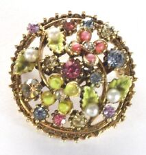 Flower Bouquet Rhinestones Faux Pearls Gold Tone Brooch Pin - Signed Mode Art -
