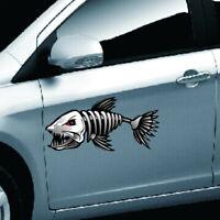 2Pz Adesivo sticker Scheletro Pesce Ossa Vinile Decalcomania Scritta Per Auto