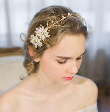 Gorgeous Gold Bridal Halo Beaded Wedding Headpieces Flora Pearl Bead Hair Vine