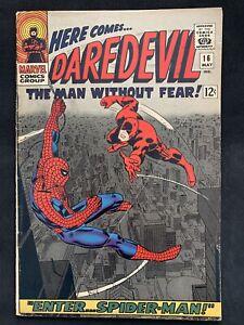 Marvel   Daredevil # 16  Spider Man app. 1st Romita art on Spidey! 1966