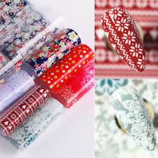 8 Sheets Christmas Nail Foil Transfer Stickers Snowflakes Flower Decals Nail Art