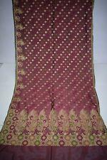 Vintage 100% Pure Tussar Silk Sari Zari Golden Embroidered Saree Ethnic Sarong