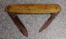 old brass 2 blade jack knife advertising Simonds Worden White Grinding Wheels