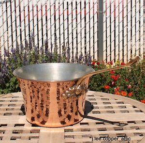 Ruffoni Hammered Copper 3 Qt Polenta Pot w/ Acorn Accent, Made in Italy