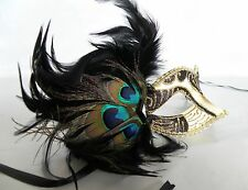 Mardi Gras Venetian Masquerade Party Mask Black Gold With Peacock Feathers NEW