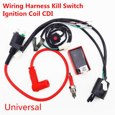 Motorcycle Wiring Harness Kill Switch Ignition Coil CDI Spark Plug Set 50-150cc