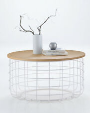 Contemporary Modern Design White Wire Natural Oak Round Coffee Table